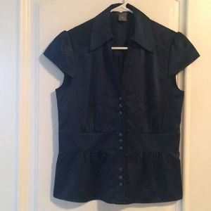 Navy polyester blouse, gently used.